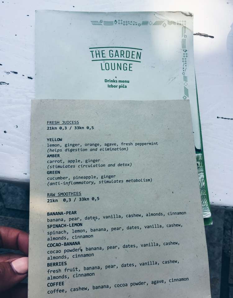 Zadar The Garden Lounge Menu